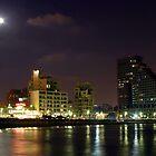 Israel Tel Aviv The shoreline at night  by PhotoStock-Isra