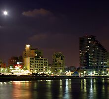 Israel Tel Aviv The shoreline at night  by PhotoStock-Isra
