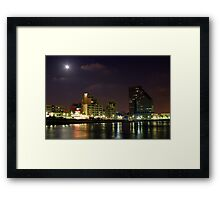 Israel Tel Aviv The shoreline at night  Framed Print