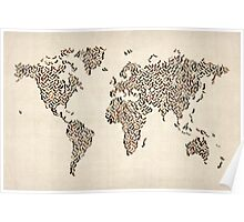 Ladies Shoes Map of the World Map Poster