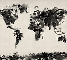 Map of the World Map Dark Abstract Painting by Michael Tompsett