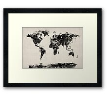 Map of the World Map Dark Abstract Painting Framed Print