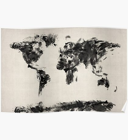 Map of the World Map Dark Abstract Painting Poster