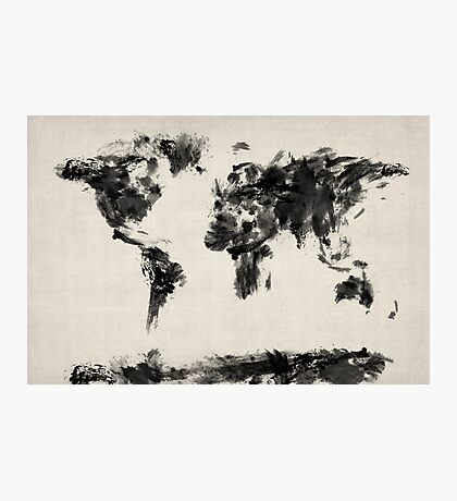 Map of the World Map Dark Abstract Painting Photographic Print