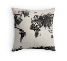 Map of the World Map Dark Abstract Painting Throw Pillow