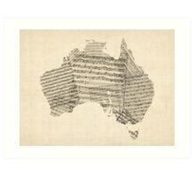 Old Sheet Music Map of Australia Map Art Print