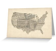 United States Old Sheet Music Map Greeting Card