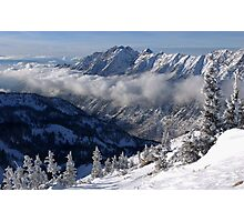 Mountains from summit of Snowbird ski resort in Utah Photographic Print
