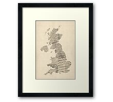 Great Britain UK Old Sheet Music Map Framed Print