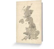 Great Britain UK Old Sheet Music Map Greeting Card