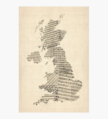 Great Britain UK Old Sheet Music Map Photographic Print