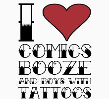 comics, booze, and tattoos Womens Fitted T-Shirt