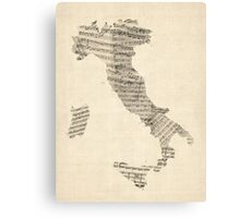 Old Sheet Music Map of Italy Map Canvas Print