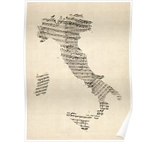 Old Sheet Music Map of Italy Map Poster