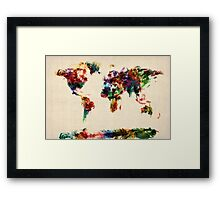 Map of the World Map Abstract Painting Framed Print