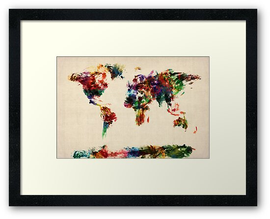 Map of the World Map Abstract Painting by Michael Tompsett