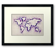 Map of the World Paint Splashes Framed Print