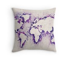 Map of the World Paint Splashes Throw Pillow