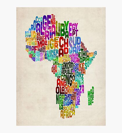 Typography Map of Africa Photographic Print