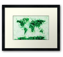 World Map Paint Splashes Green Framed Print