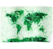 World Map Paint Splashes Green Poster