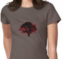 red and black tree retro truck stop tee  Womens Fitted T-Shirt