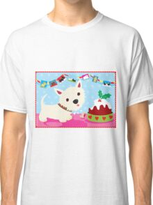 Westie and Christmas Pudding Classic T-Shirt