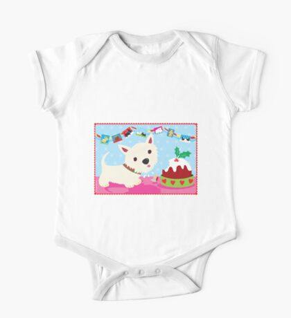 Westie and Christmas Pudding One Piece - Short Sleeve