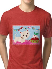 Westie and Christmas Pudding Tri-blend T-Shirt