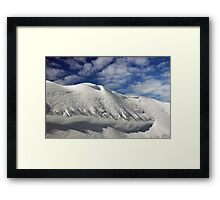 On the top of the World - Snow and Sky Framed Print