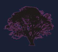 purple and black tree retro truck stop tee   by Tia Knight