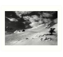 On the top of the World - Snowbasin Ski Slopes BW Art Print