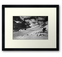 On the top of the World - Snowbasin Ski Slopes BW Framed Print