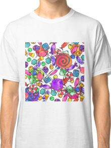 Colorful Watercolor Hand Drawn Candy Pattern Classic T-Shirt