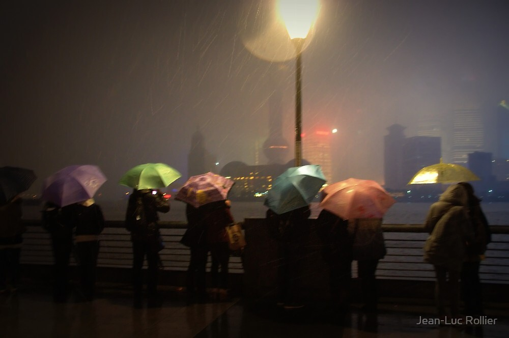 Shanghai - Umbrellas on the Bund by Jean-Luc Rollier