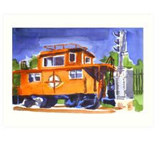 Caboose with Silver Signal Art Print
