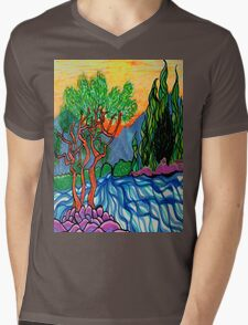 Cypress and Olive trees by the river Mens V-Neck T-Shirt