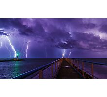 Lighthouses in a Thunderstorm with Purple Rain Photographic Print