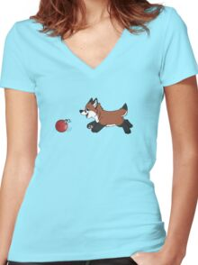 Ornament Chaser- Red Fox Women's Fitted V-Neck T-Shirt