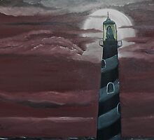 Lighthouse on a Partilly Cloudy Night by towncrier