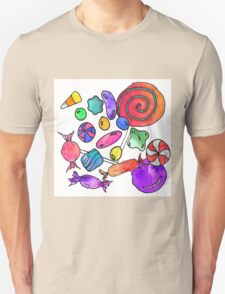 Scattered Colorful Watercolor Hand Drawn Candy T-Shirt