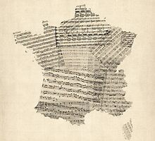 Map of France Old Sheet Music Map by Michael Tompsett