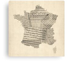 Map of France Old Sheet Music Map Canvas Print