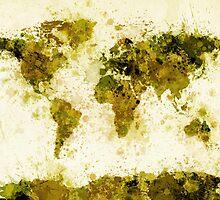 World Map Paint Splashes Yellow by Michael Tompsett