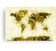 World Map Paint Splashes Yellow Canvas Print