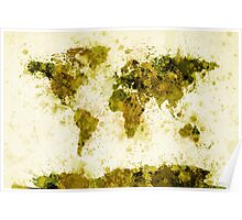 World Map Paint Splashes Yellow Poster