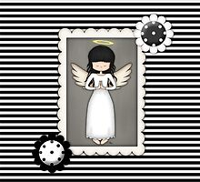 Whimsical Black and White Angel by ArtformDesigns