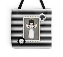 Whimsical Black and White Angel Tote Bag