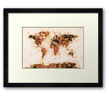 World Map Paint Splashes Bronze Framed Print