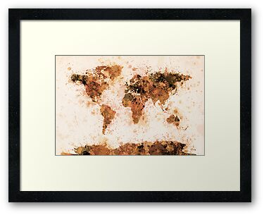 World Map Paint Splashes Bronze by ArtPrints
